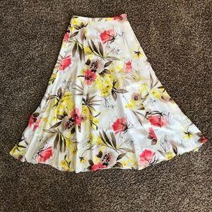 🌺100% Silk Allison Summer Pink Cream Skirt Small
